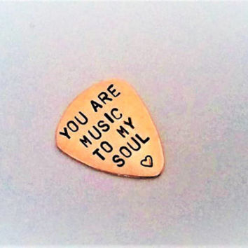 Handstamped guitar pick, You are music to my soul, Personalized plectrum, Valentines Day gift, copper men gift, custom statement, guitarist