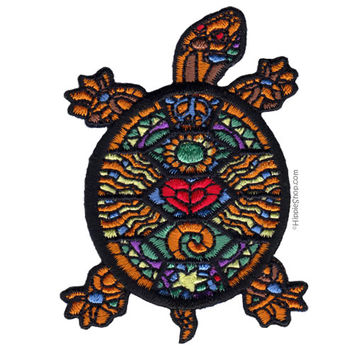 Big-Hearted Stained Glass Turtle Patch on Sale for $3.99 at HippieShop.com