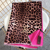 LV Louis Vuitton new letter embroidery ladies fringed Leopard scarf Rose red