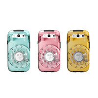 Samsung Galaxy S4, S3 case, retro, vintage rotary phone, mad men, pink, blue, samsung Galaxy S3 cover, geekery