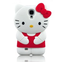 I Need's 3d Cute Soft Silicone Gel Hello Kitty Case Cover Protector Skin for Samsung Galaxy S4 SIV I9500 + 3d Hello Kitty Stylus Pen (RED)
