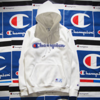 Champion Hooded men and women who dress thickening couple costume White