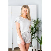 Live And Lovely Romper- Heather Grey