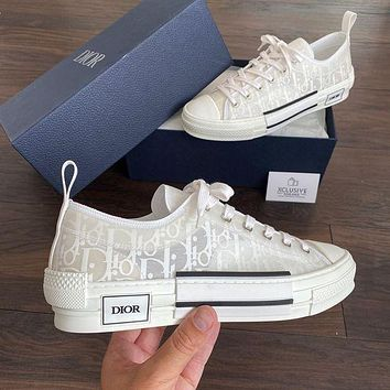 Dior CD new style mesh lace-up sneakers Low-top flat-bottom student sports hip-hop sneakers Dior letter high-top shoes Men's and women's versatile casual shoes