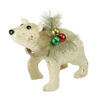 "16"" Lighted Sparkling Sisal Baby Polar Bear Christmas Yard Art Decoration"