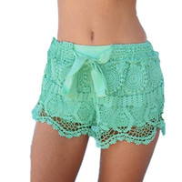 Summer Style Shorts 2016 Fashion Women Casual Lace Drawstring Hollow Out Shorts