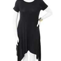 Plus Size Hanky Hem Black Maxi Shirt Dress, Plus Size Clothing, Club Wear, Dresses, Tops, Sexy Trendy Plus Size Women Clothes