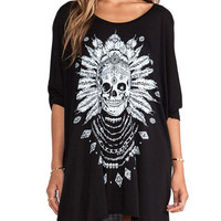 Black Tribal Skull Print Long Sleeve Mini Casual Dress