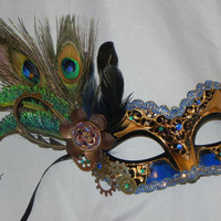 Steampunk Mask in Bronze, Gold and Royal Blue with Peacock and Gear Accents