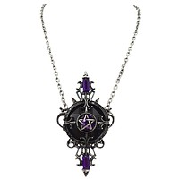 Restyle Mystic Mirror Gypsy Gothic Purple Pentagram Necklace Pagan/witch/magic