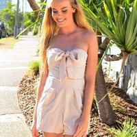 Beige Strapless Playsuit with Tie-Up Bow Top Detail