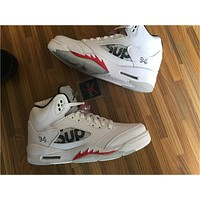 Air Jordan 5 SUP White Red Basketball Shoes 36-47