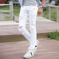 Men's Jeans White Ripped With Holes Slim Fit