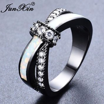 JUNXIN Mystic Rainbow Fire Opal Rings For Women Lady Black Gold Filled Wedding Party Engagement Love Ring Anel Valentine's Day