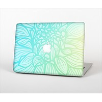 The Faded Blue & Green Subtle Floral Skin Set for the Apple MacBook Air 13""