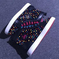 Christian Louboutin CL Louis Spikes Style #1878 Sneakers Fashion Shoes Online