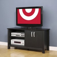 "Wood TV Stand with Open Shelf Stand - Black (44"")"