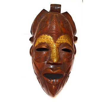 "1 Piece of 16"" Large African Wood Mask in Brown"