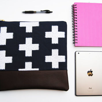 BOLD LEATHER CLUTCH, blue swiss cross bag, fabric and leather foldover, everyday casual clutch, fold over clutch, iPad sleeve, kindle case