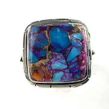Kingman Dahlia Turquoise Sterling Silver Square Ring