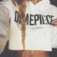 Women's Long Sleeve Casual Hooded Sweatshirt Dimepiece Letter Print Crop Top Hoodie