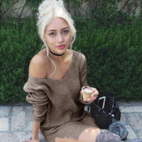 Sexy Women's V Neck Knitted Sweater + Nice Free Gift Necklace