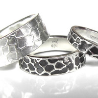 Giraffe Print Ring, 8mm Wide Band in Recycled Sterling Silver
