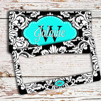 Pretty monogram license plate or frame - Damask pattern in black light turquoise - car accessory bicycle plate bike license plate (1285)