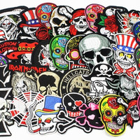 24pcs lot 5-12cm Iron-on Embroidered Patches skull style DIY Headwear & Sewing Appliques 082007240