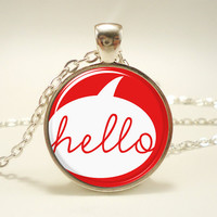 Hello Necklace, Red Jewelry, Cute Pendant (1571S1IN)