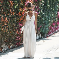 Summer Women Lace Dress Strapless Patchwork Rayon Long Dress Tie Up Backless Boho Dress V-neck Maxi Robes Party Dresses