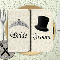 Bride And Groom Wedding Marriage Matching Pair Top Hat Tiara Custom Wallet Phone Case For The iPhone 4 and 4s and iPhone 5 and 5s and 5c