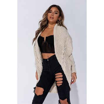 Beige Chunky Cable Knit Shawl Collar Cardigan