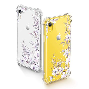 GVIEWIN iPhone XR Cases, Bouquet Series Unique Clear Floral XR Phone Case Girls Women Stylish Flexible Soft Slim Fit Anti-Shock Protective Cover for iPhone XR 6.1 Inch (Reed Flower/Purple) Reed Flower/Purple