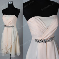 2014 Beads Crystals Champagne Strapless A-Line Short Ruffled Bridesmaid Dress,Knee Length Chiffon Evening Party Prom Dress