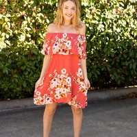 PALM SPRINGS OFF SHOULDER DRESS - CORAL