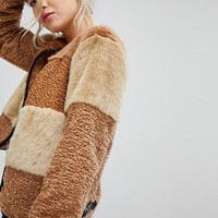New Look Patchwork Faux Fur Jacket at asos.com