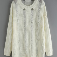 Long Sleeve Ripped Loose White Sweater