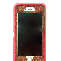 iPhone 6 (4.7 inch) OtterBox Defender Series Case Glitter Cute Sparkly Bling Defender Series Custom Case Pink / red