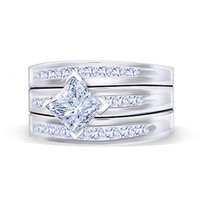 Princess & round brilliant diamonds wedding ring 2.75 carat diamond band