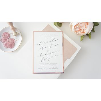 Calligraphy Rose Gold Wedding Invitation - DEPOSIT