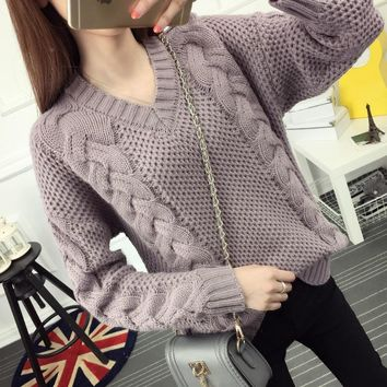 Women's One Size Soft Wool Warm Casual Cable Knit Pullover Sweater