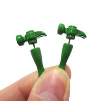Fake Gauge Earrings: Realistic Hammer Shaped Front and Back Stud Earrings in Green