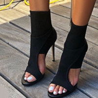 Hot style new one-word high heel sandals with back zipper