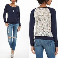 Back Lace Patchwork Scoop Long Sleeves Sweatshirt