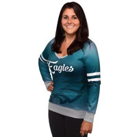 Philadelphia Eagles Official NFL Womens Printed Gradient V-neck Sweater
