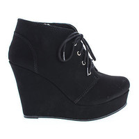 Favor Round Toe Lace Up Platform High Wedge Classic Ankle Bootie