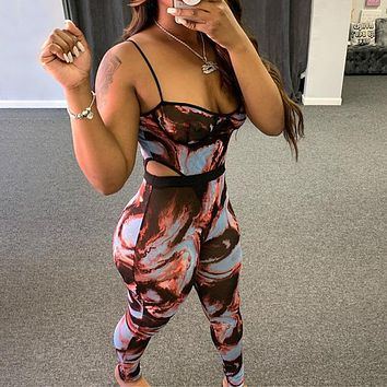 Summer and autumn new women's suspenders halter one-piece trousers camouflage suit