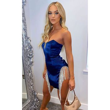Love Me Better Bustier Strapless Rhinestone Cut Out Sides Fringe Bling Satin Bodycon Mini Dress