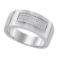 925 WP 0.15Ctw-Dia Fashion Mens Wedding Ring Band